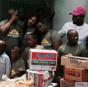 Photos: Tiwa Savage And Skales Visit A Down Syndrome Foundation